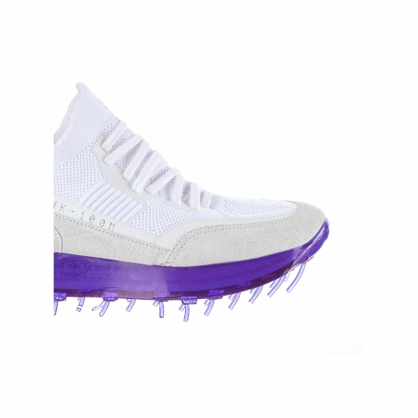 Women's SNK-100M trainers in white technical knit fabric with purple sole