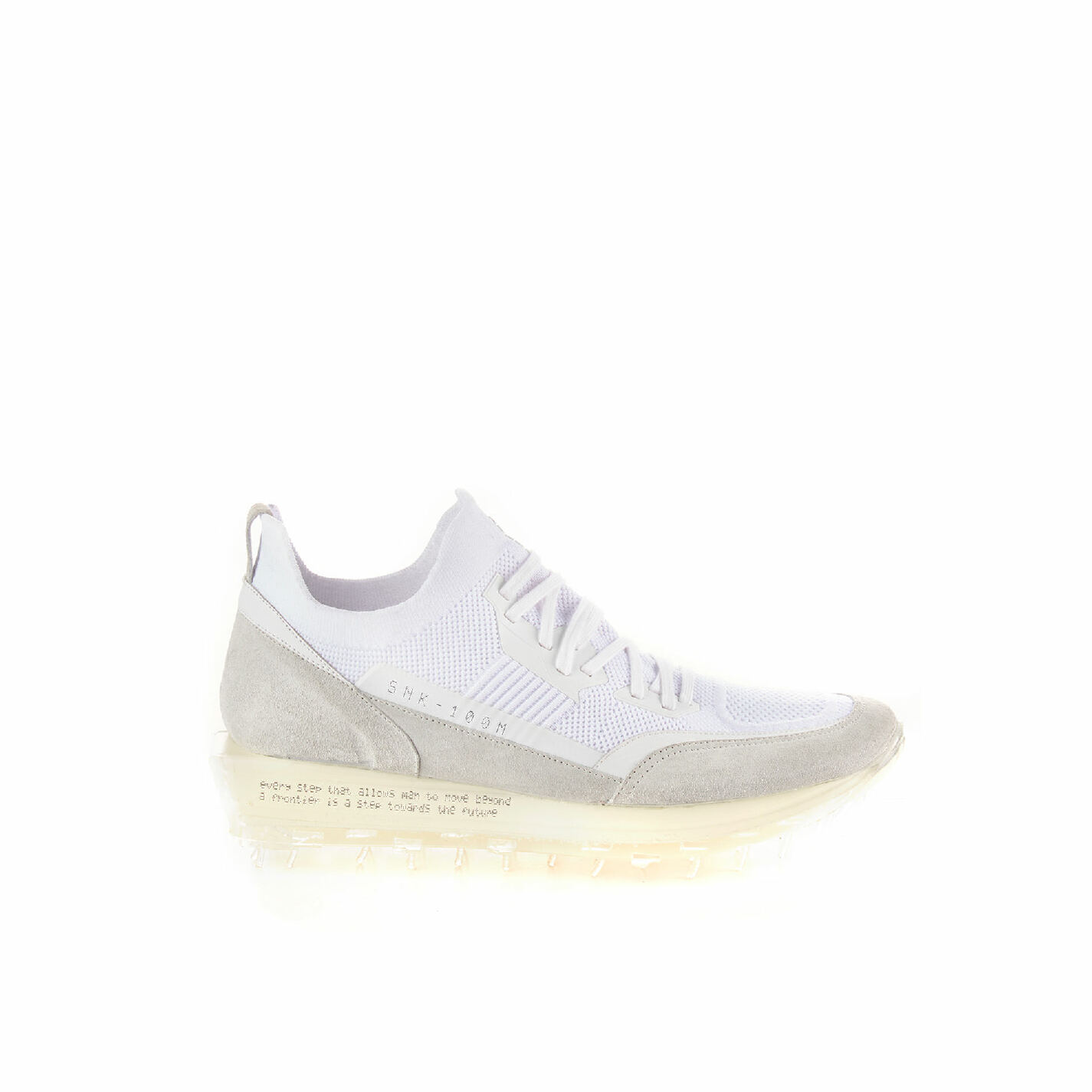 Men's SNK-100M trainers in white technical knit fabric with see-through sole