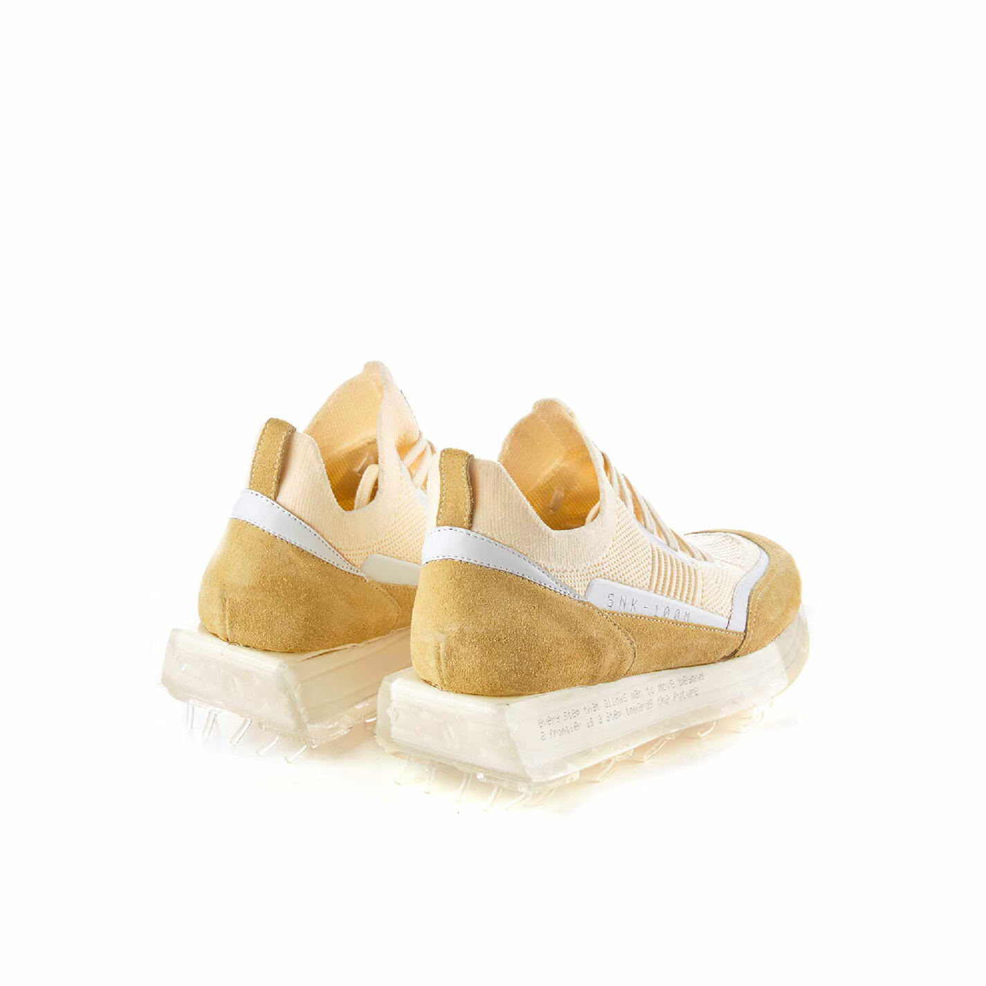 Men's SNK-100M trainers in beige technical knit fabric