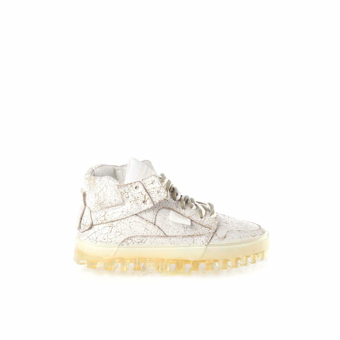 Women's BOLD cracked-effect leather trainers with see-through sole