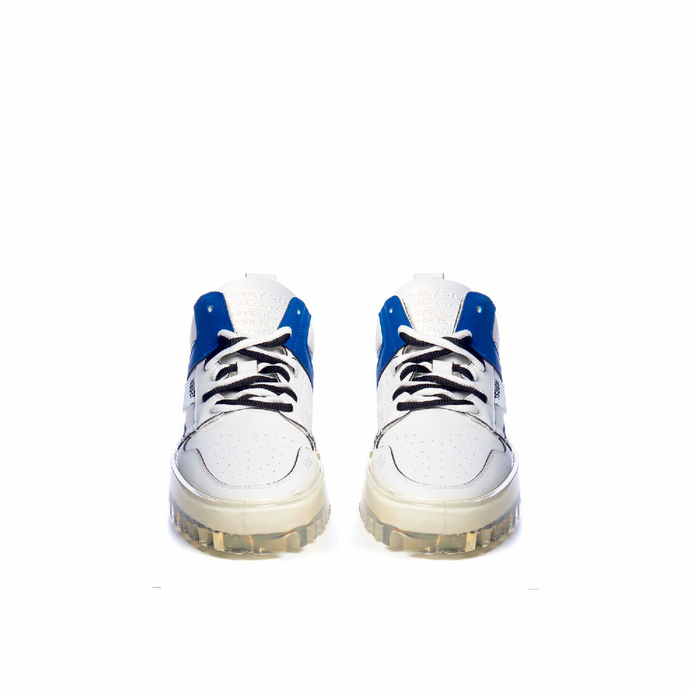 Men's BOLD low-top white leather trainers with blue detailing