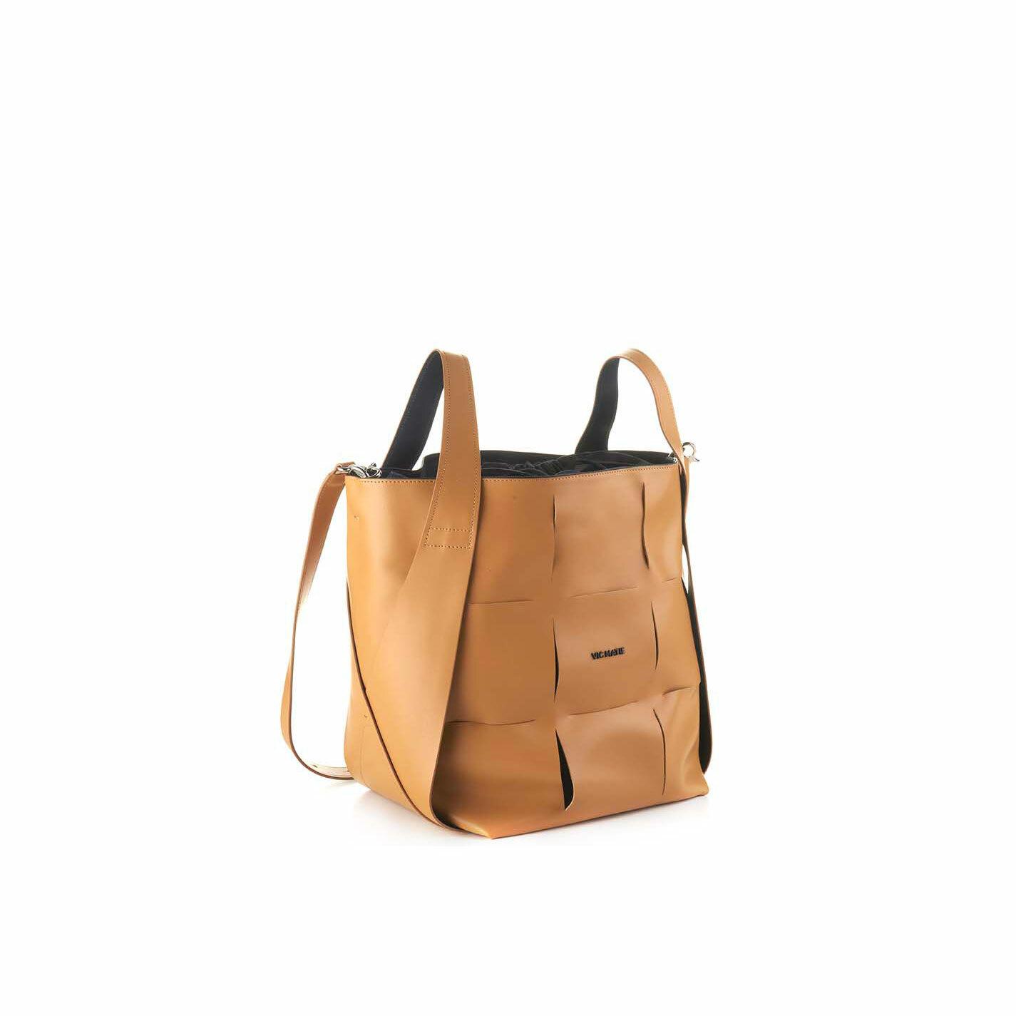 Nadege<br />Large tan-brown leather bucket bag