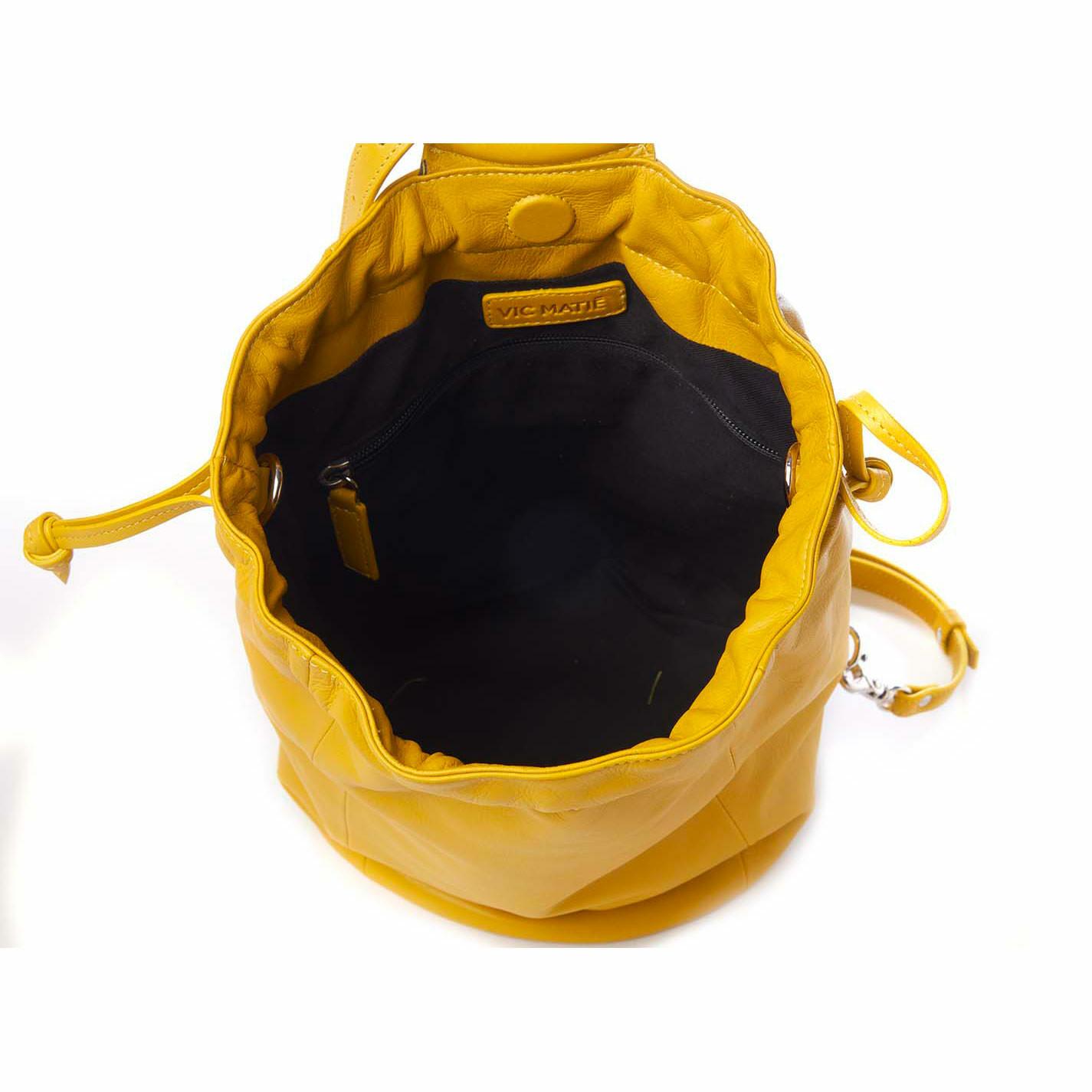 Tecla<br />Ochre-yellow leather bucket bag