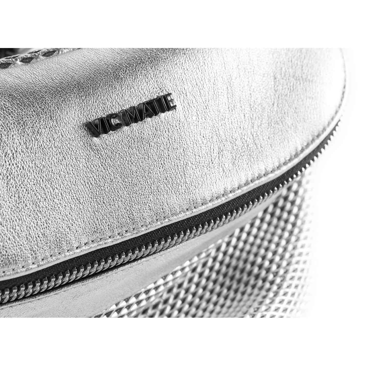 Ginger<br />Perforated silver leather waist bag