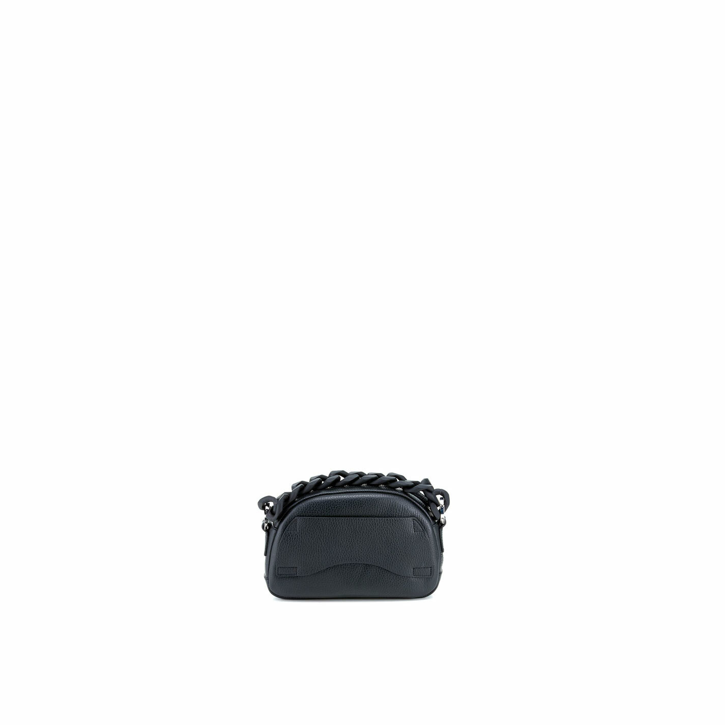 Babs Small<br />Mini black leather bag with black chain