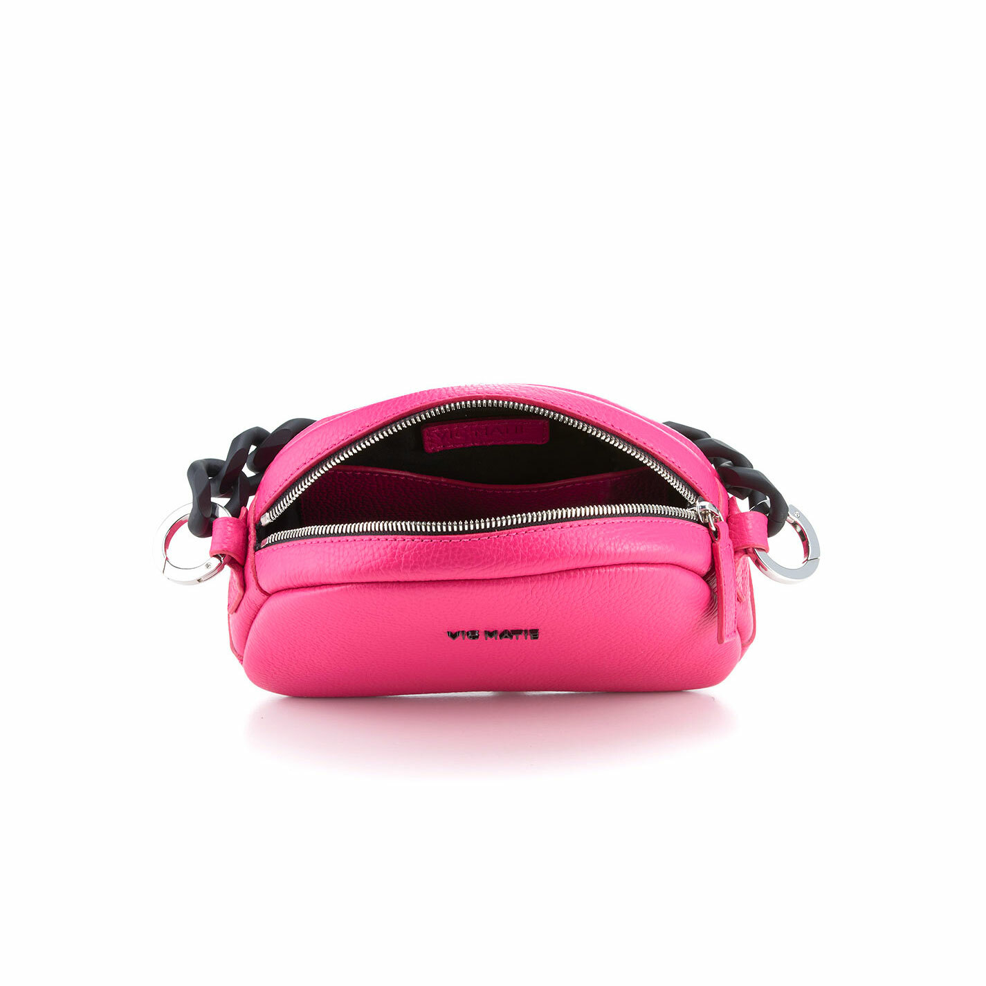 Babs Small<br />Mini magenta leather bag with black chain