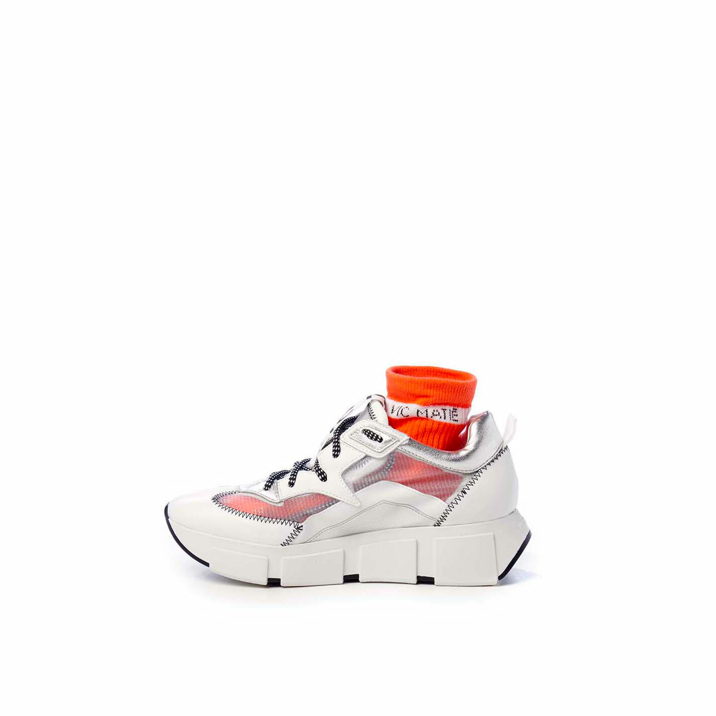 Silver/white running shoes in calfskin and see-through ripstop
