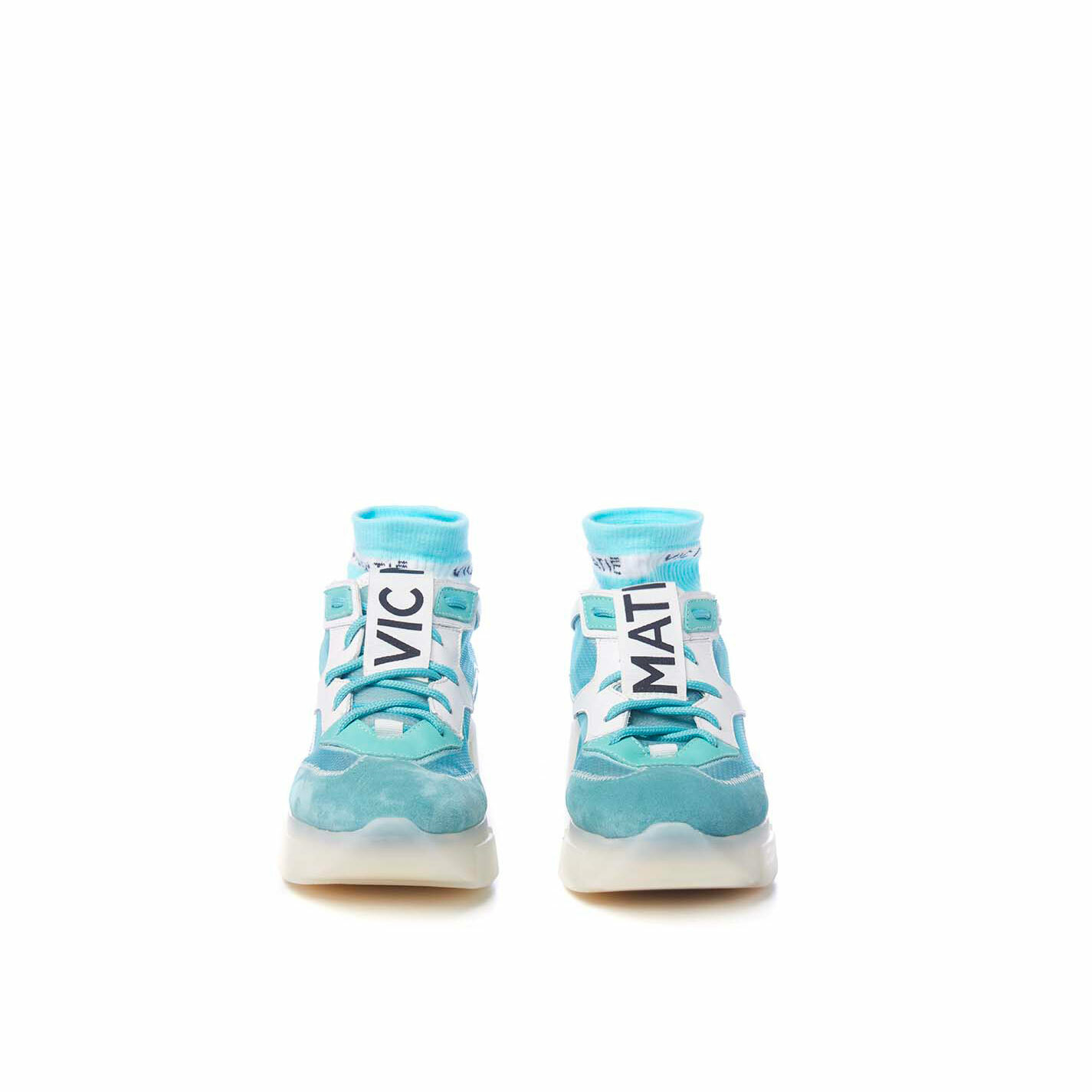 Sky-blue running shoes in split leather and see-through ripstop