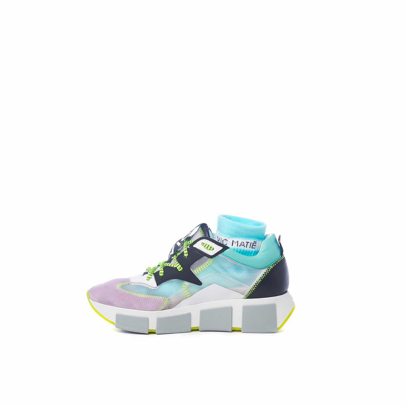 Wisteria/sky-blue running shoes in leather, split leather and see-though ripstop