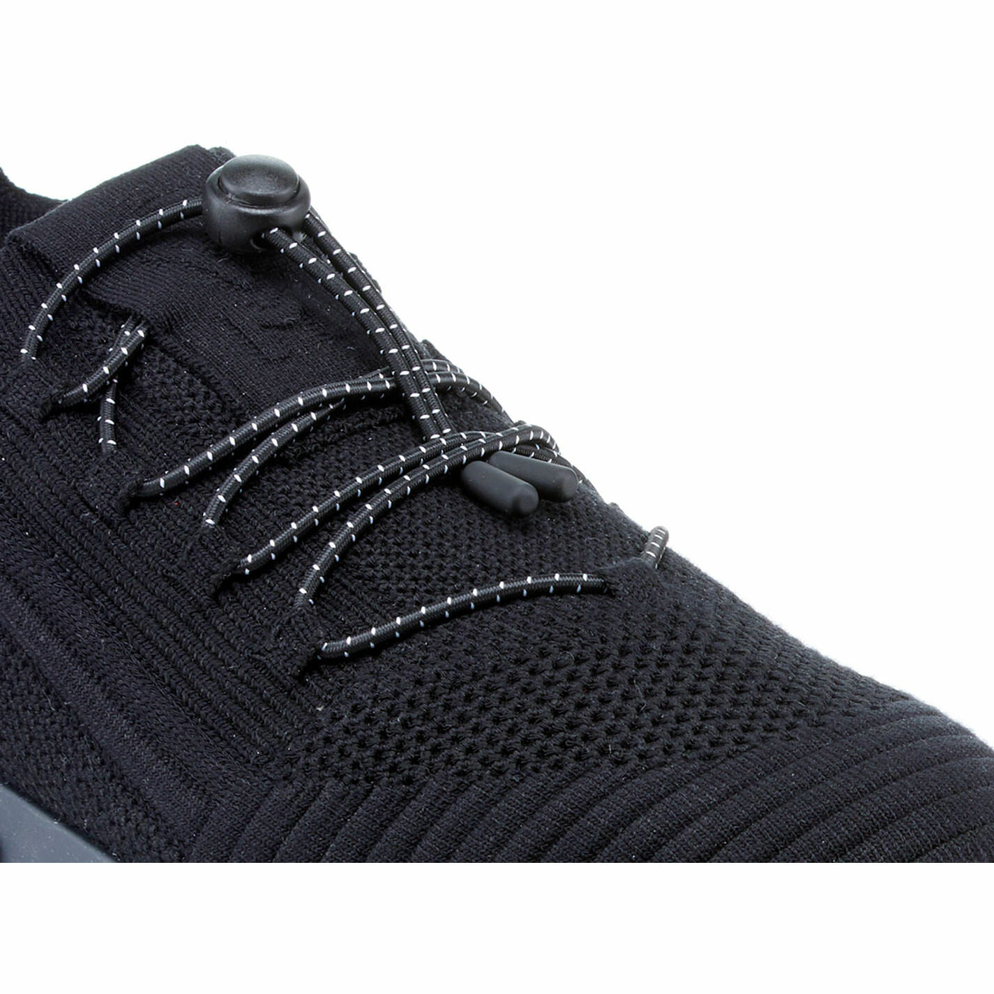 Knit black lace-up running shoes