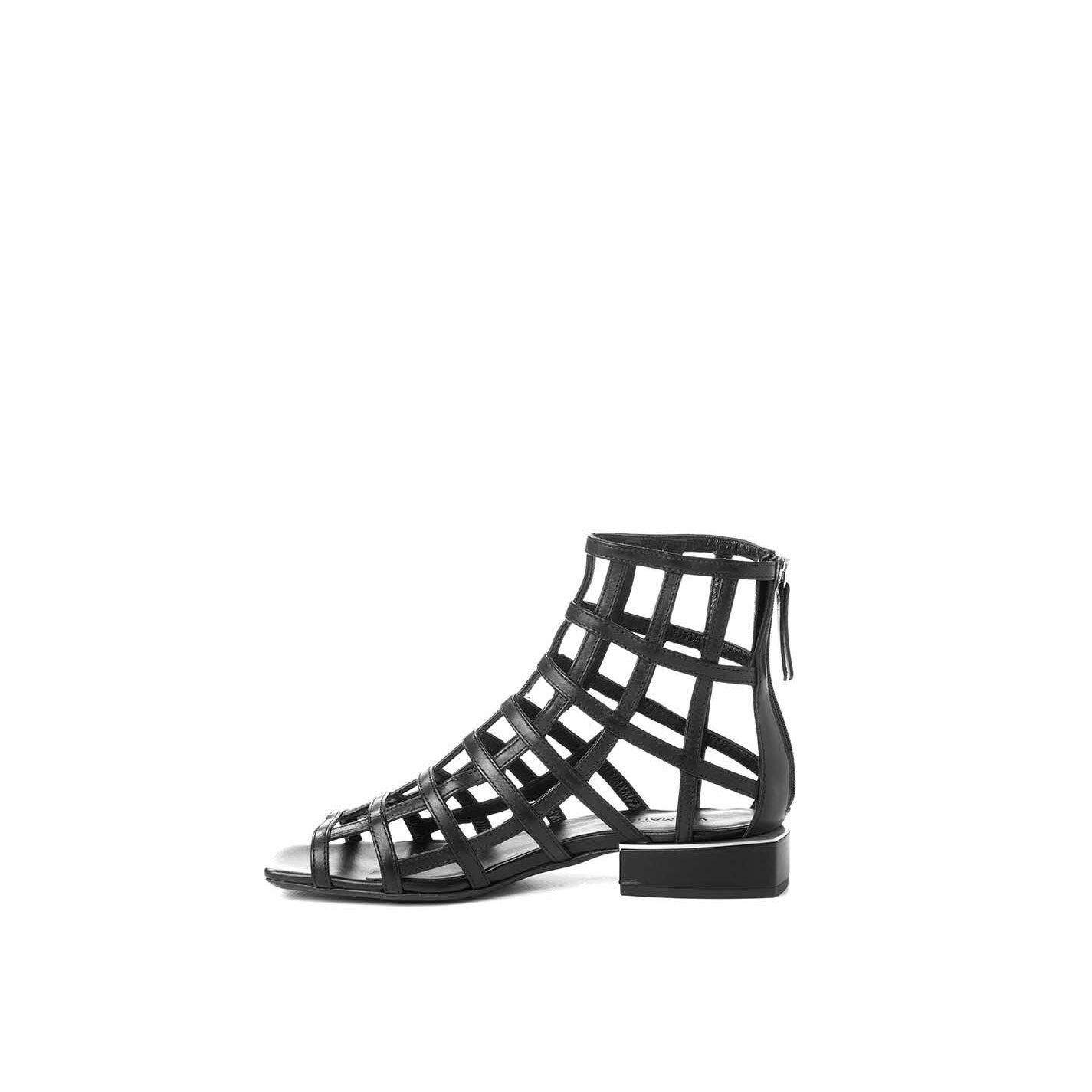Flat high-top cage sandals in black calfskin
