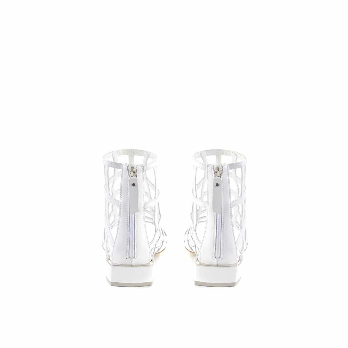 Flat high-top cage sandals in white calfskin