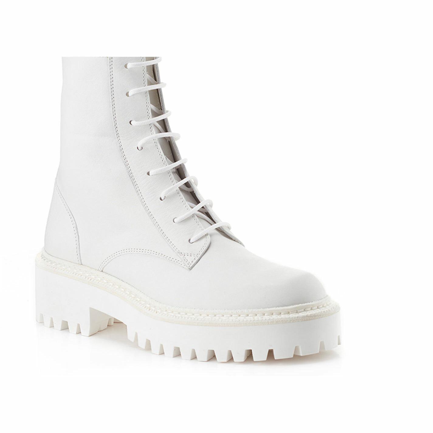 White calfskin combat boots