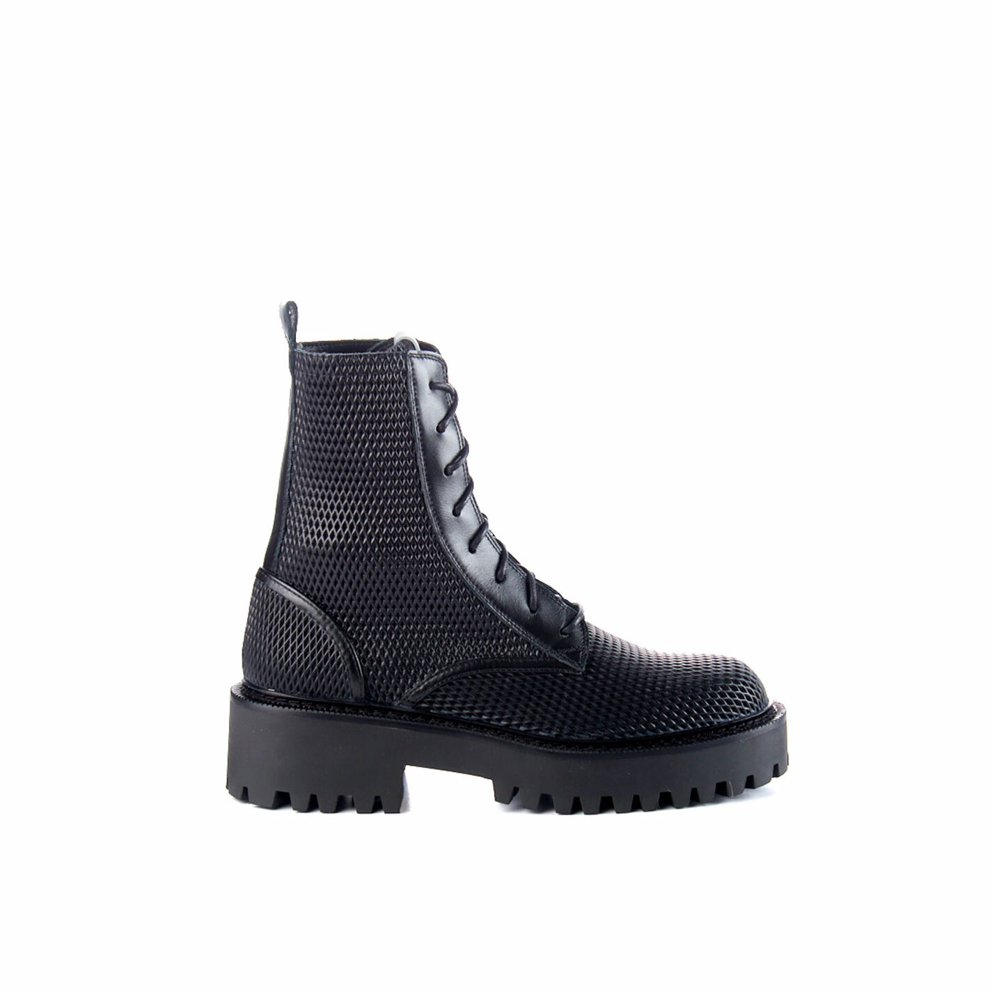 Black combat boots in perforated calfskin