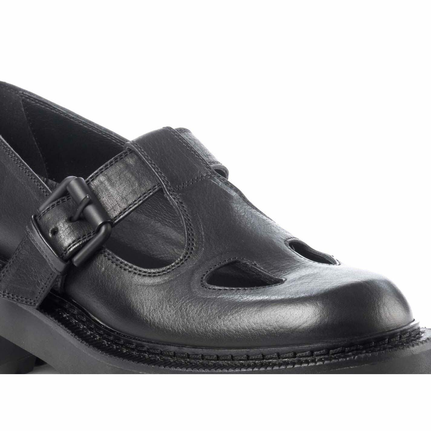 Scarpa aperta in pelle di vitello nera