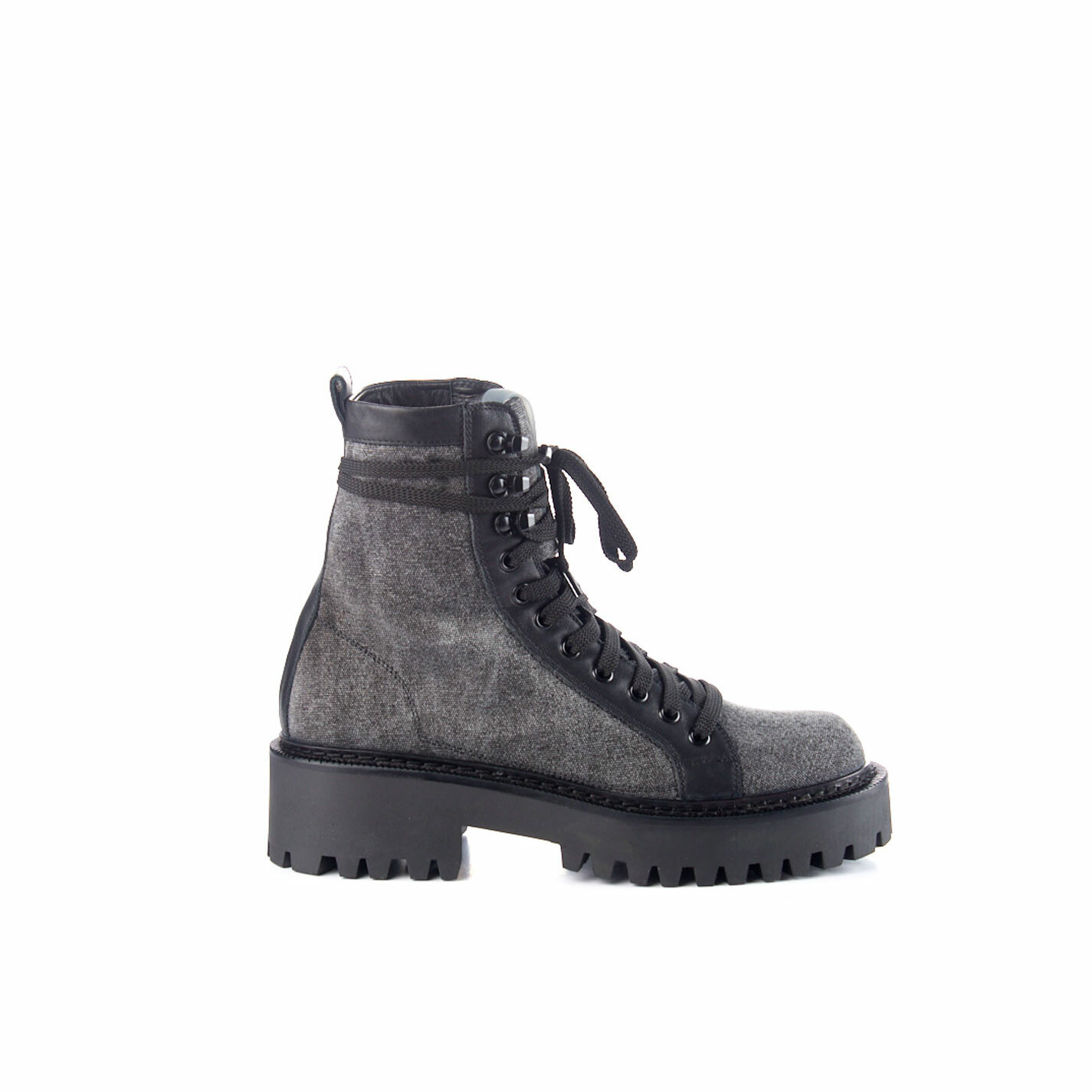 Black calfskin and canvas walking boots
