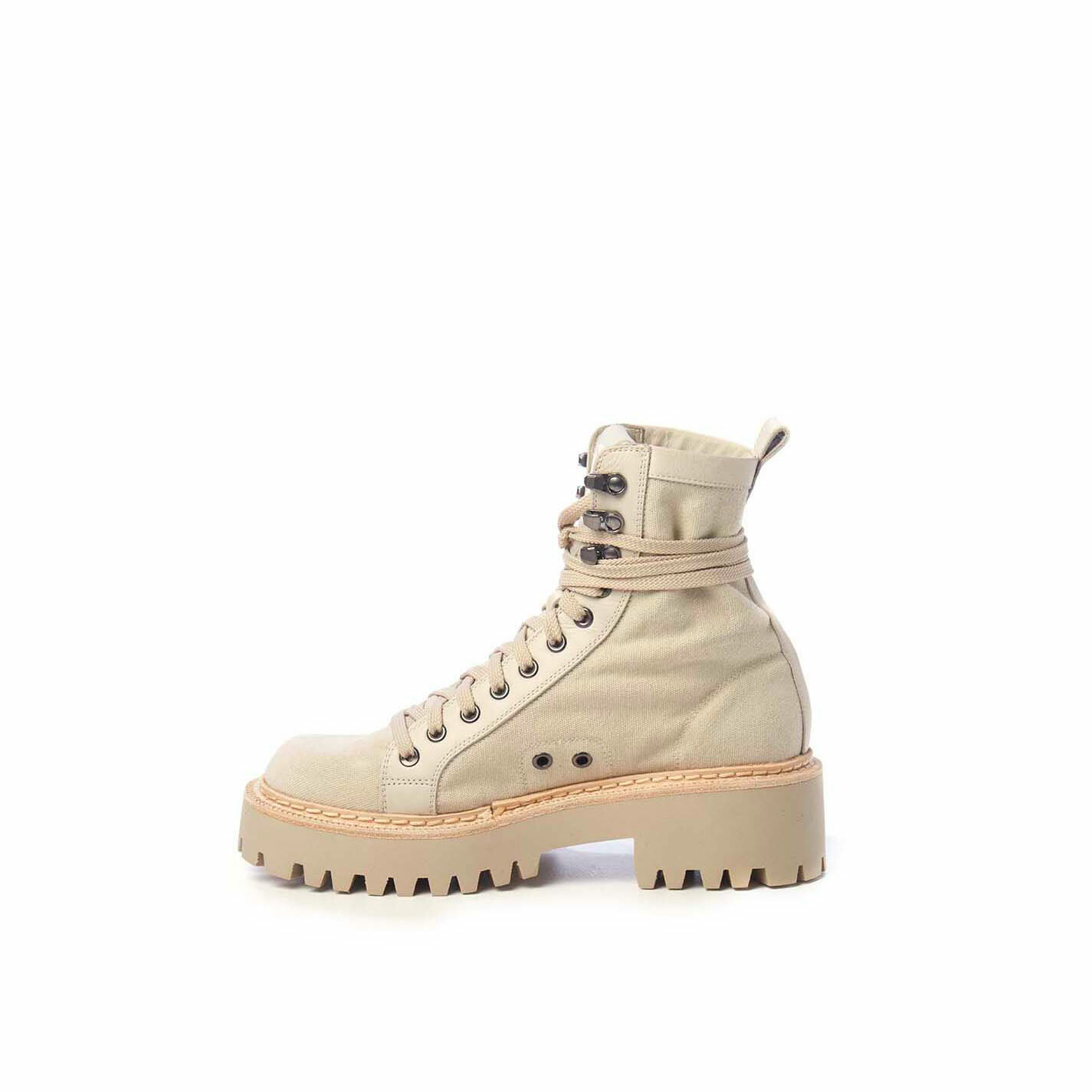 Sand-yellow calfskin and canvas walking boots