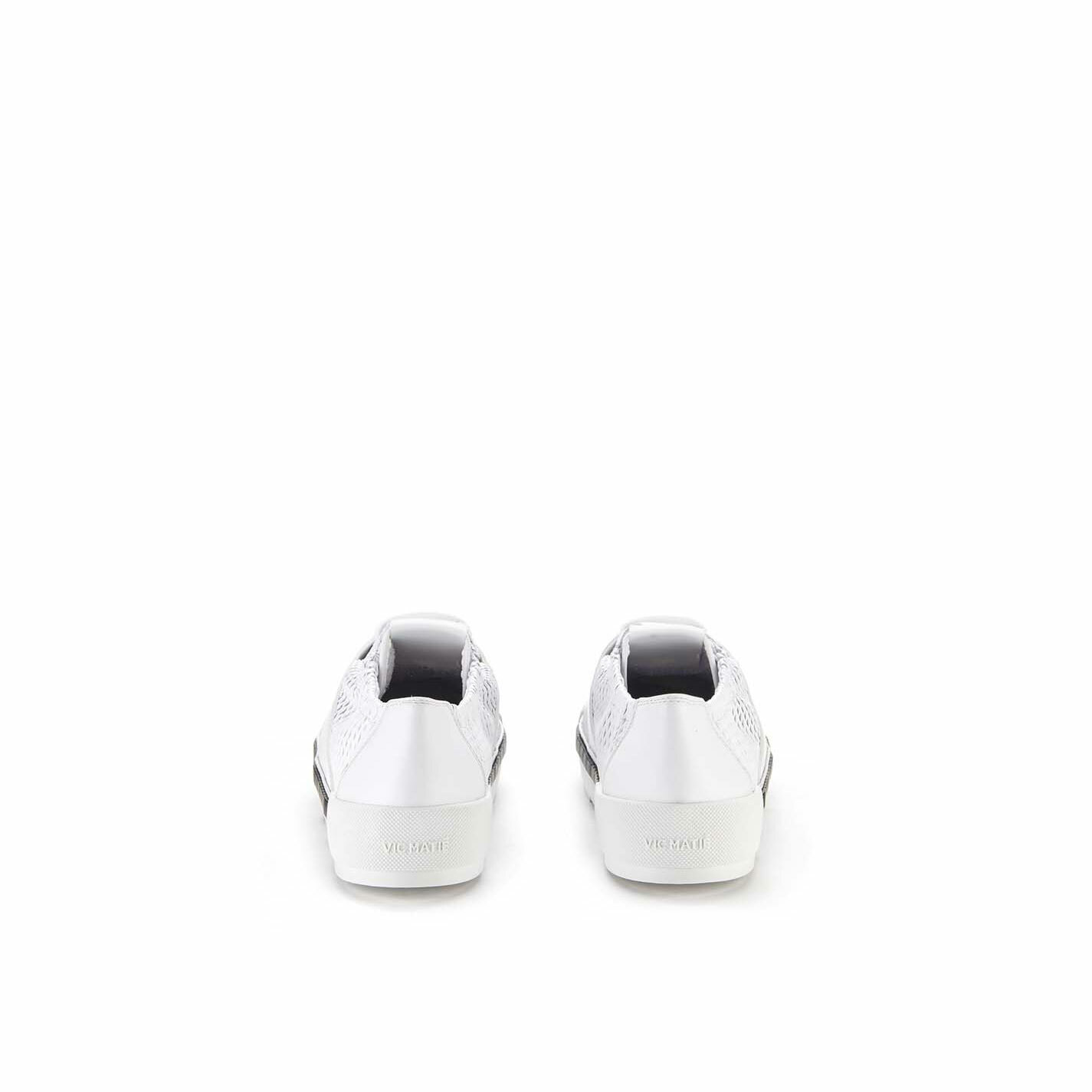 White lace-ups in perforated calfskin