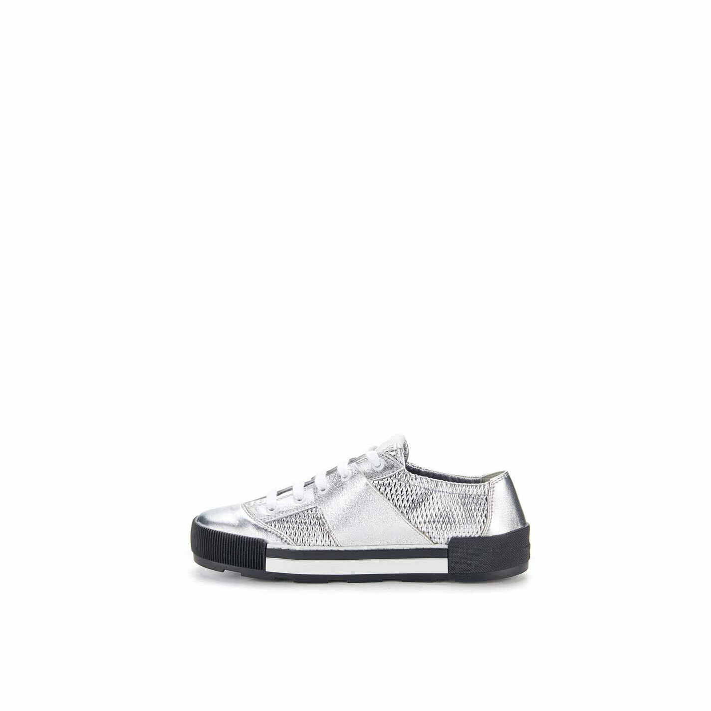 Silver lace-ups in perforated calfskin