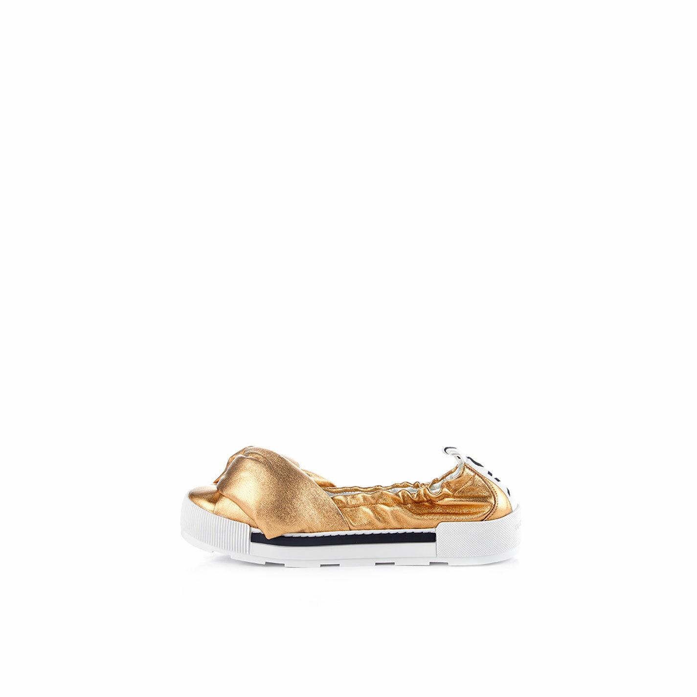 Ballerina sport con nodo in morbida nappa laminata oro