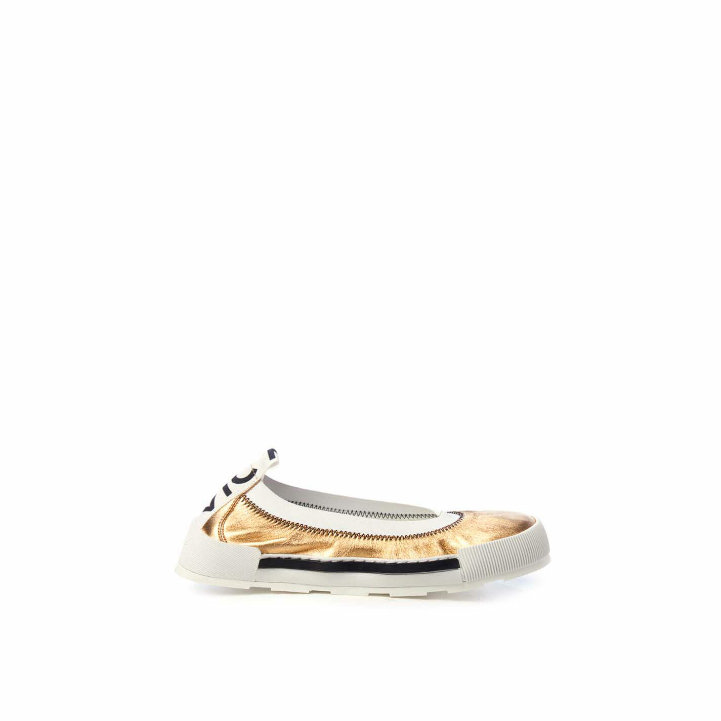 Sporty ballerina flats in soft, laminated golden nappa leather