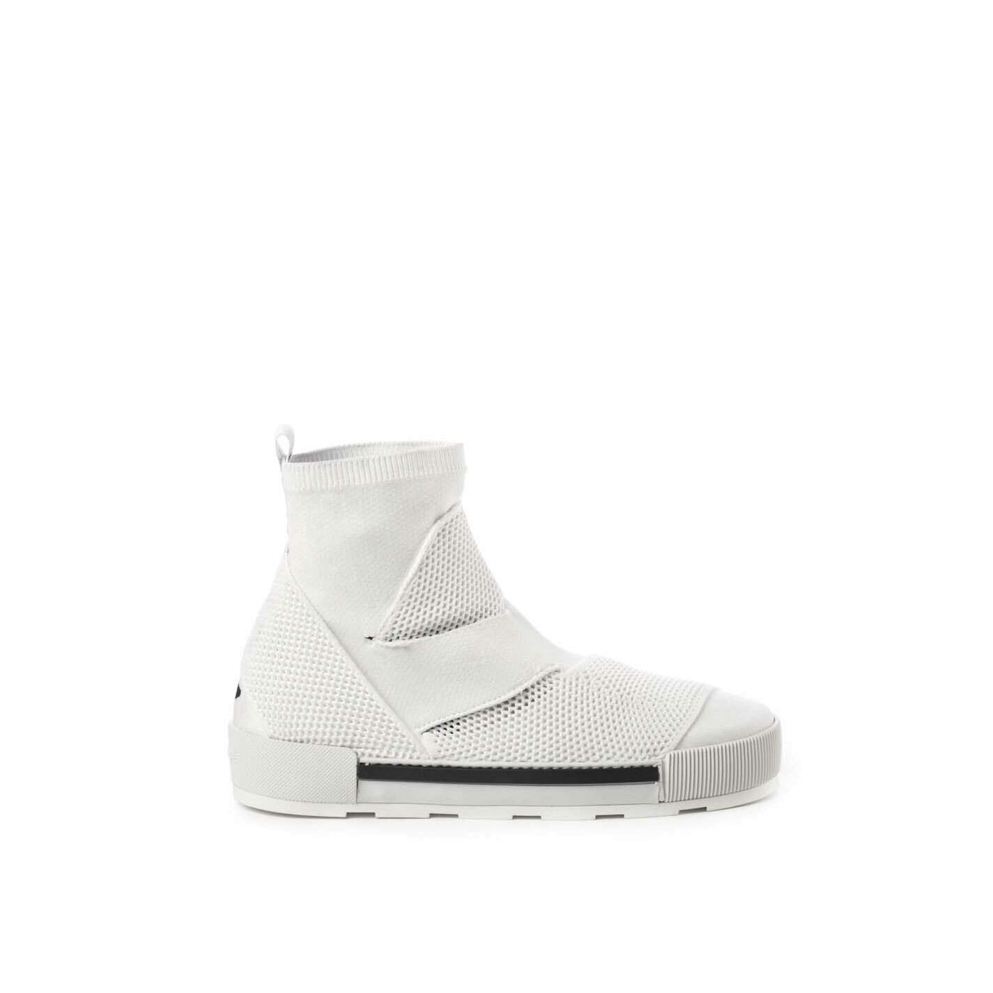 Banded white ankle boots