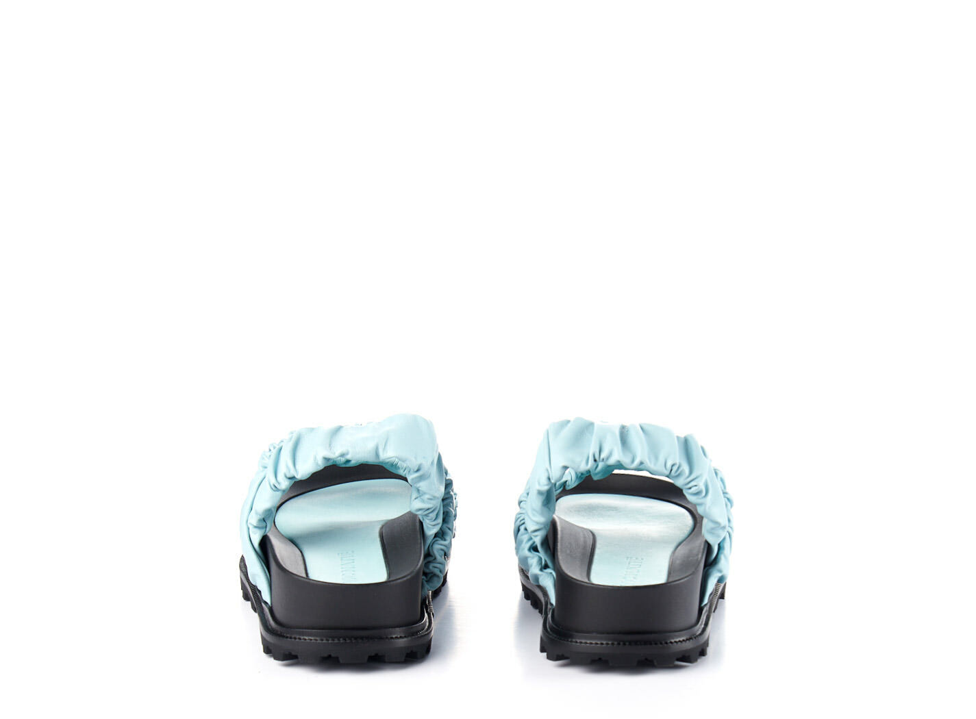 Sky-blue footbed sandals with 3 bands