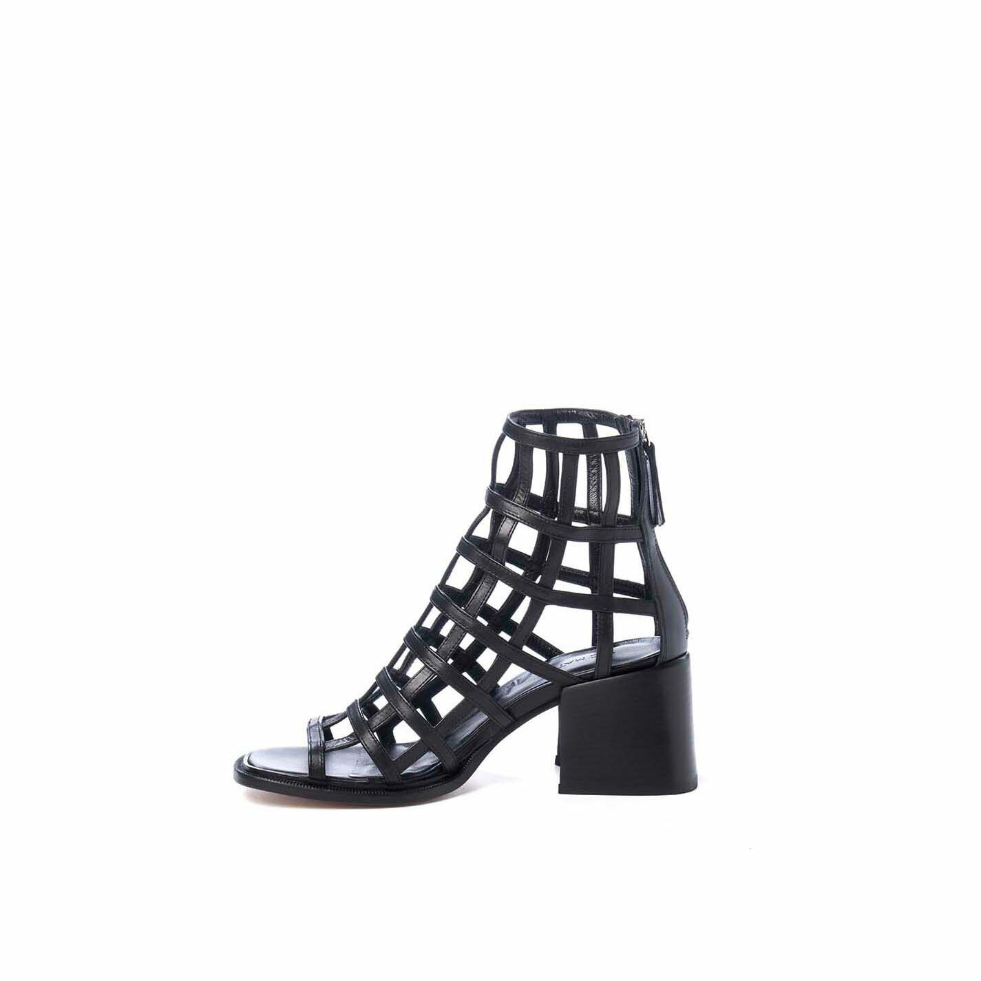Black cage-effect ankle boots with open toe