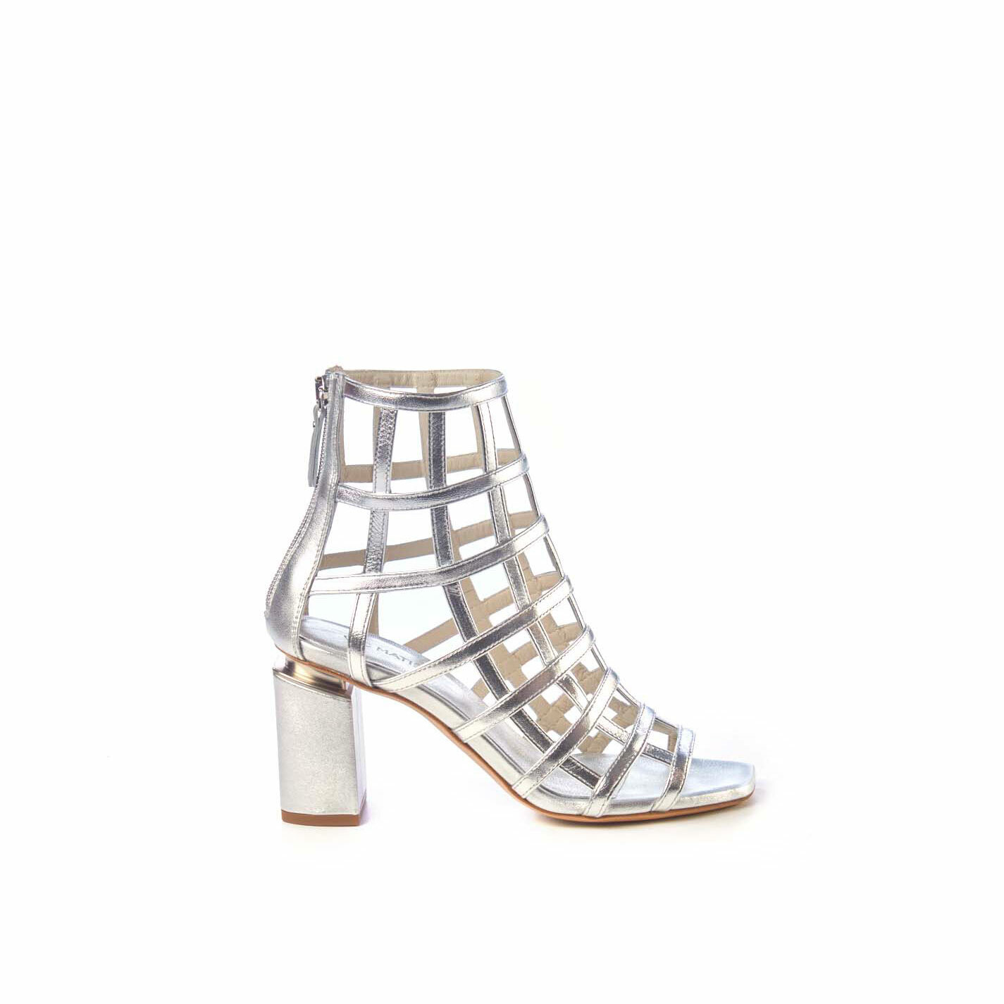 Silver cage-effect ankle boots with suspended heel