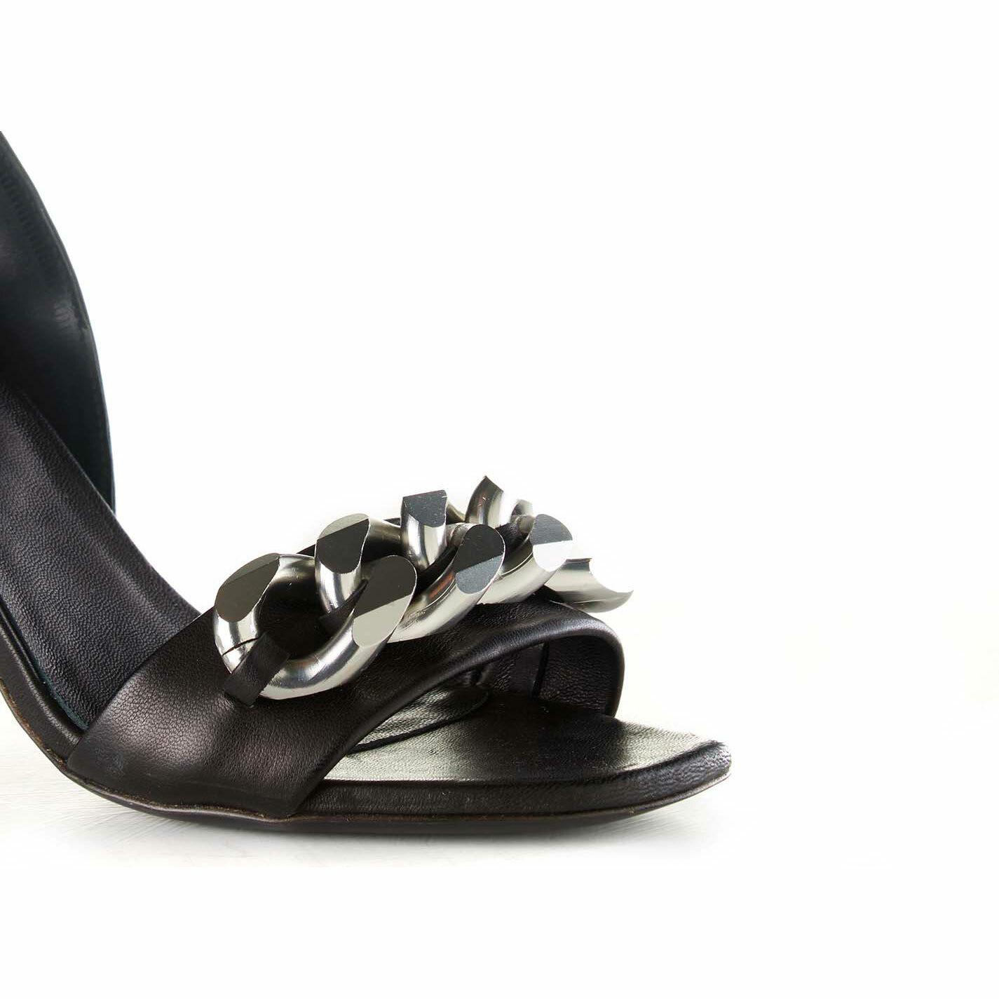 Sandalo catena argento su tacco sospeso