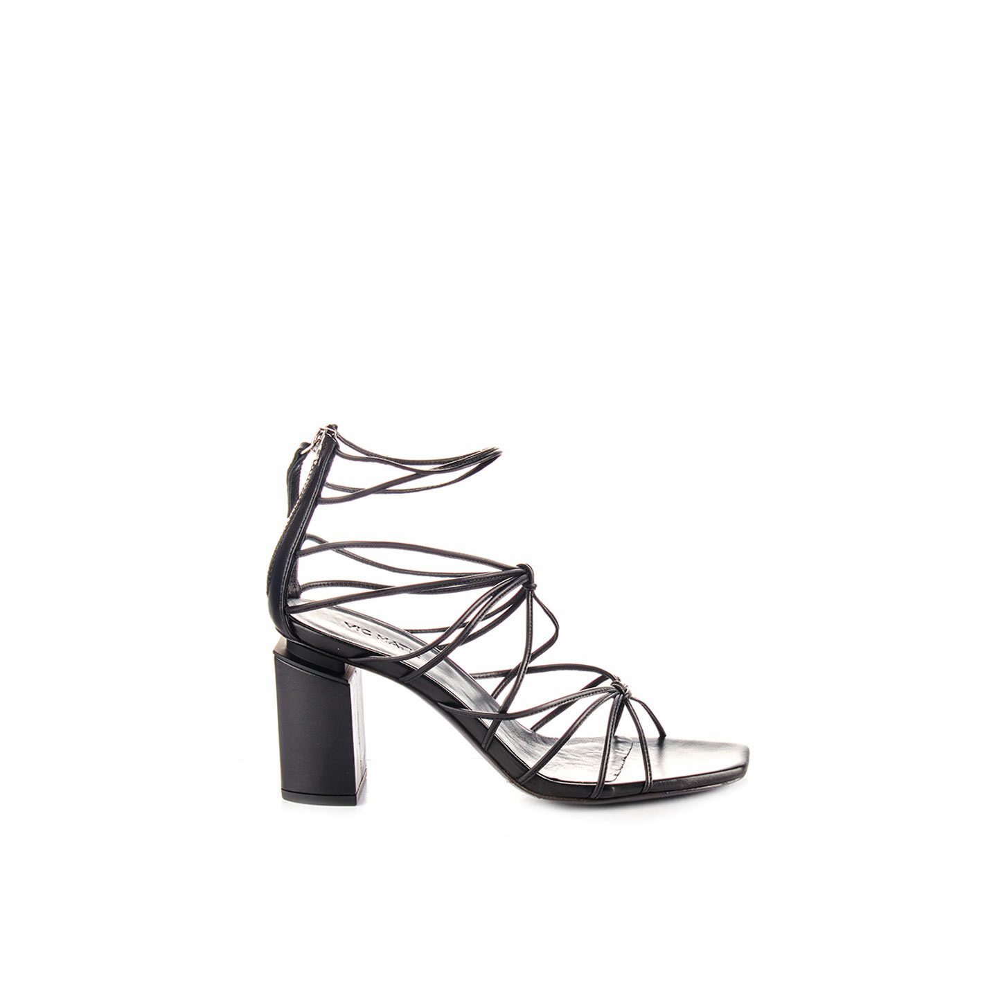 Sandals with black leather strings and suspended heel
